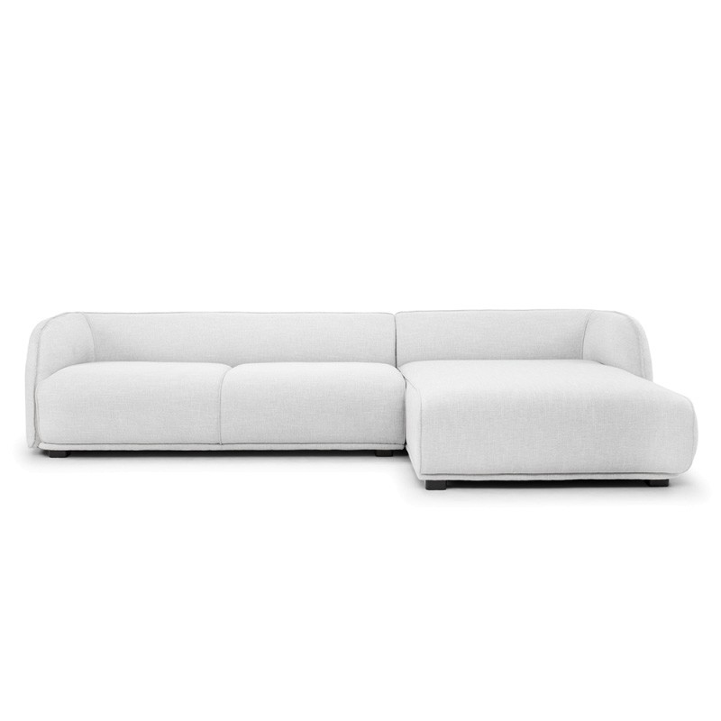 Havero Fabric Corner Sofa, 2 Seater with RHF Chaise, Light Grey