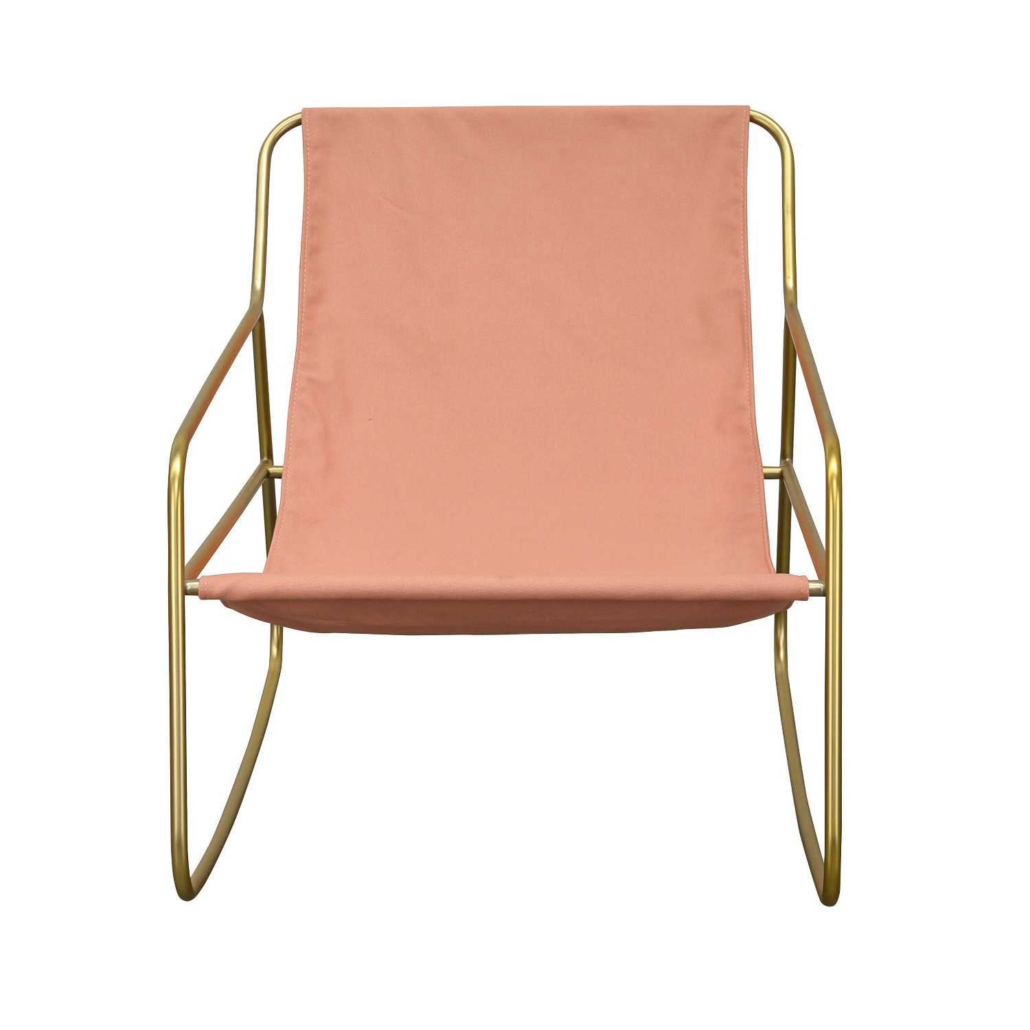 Zola Metal & Canvas Rocking Lounge Armchair, Blush / Gold