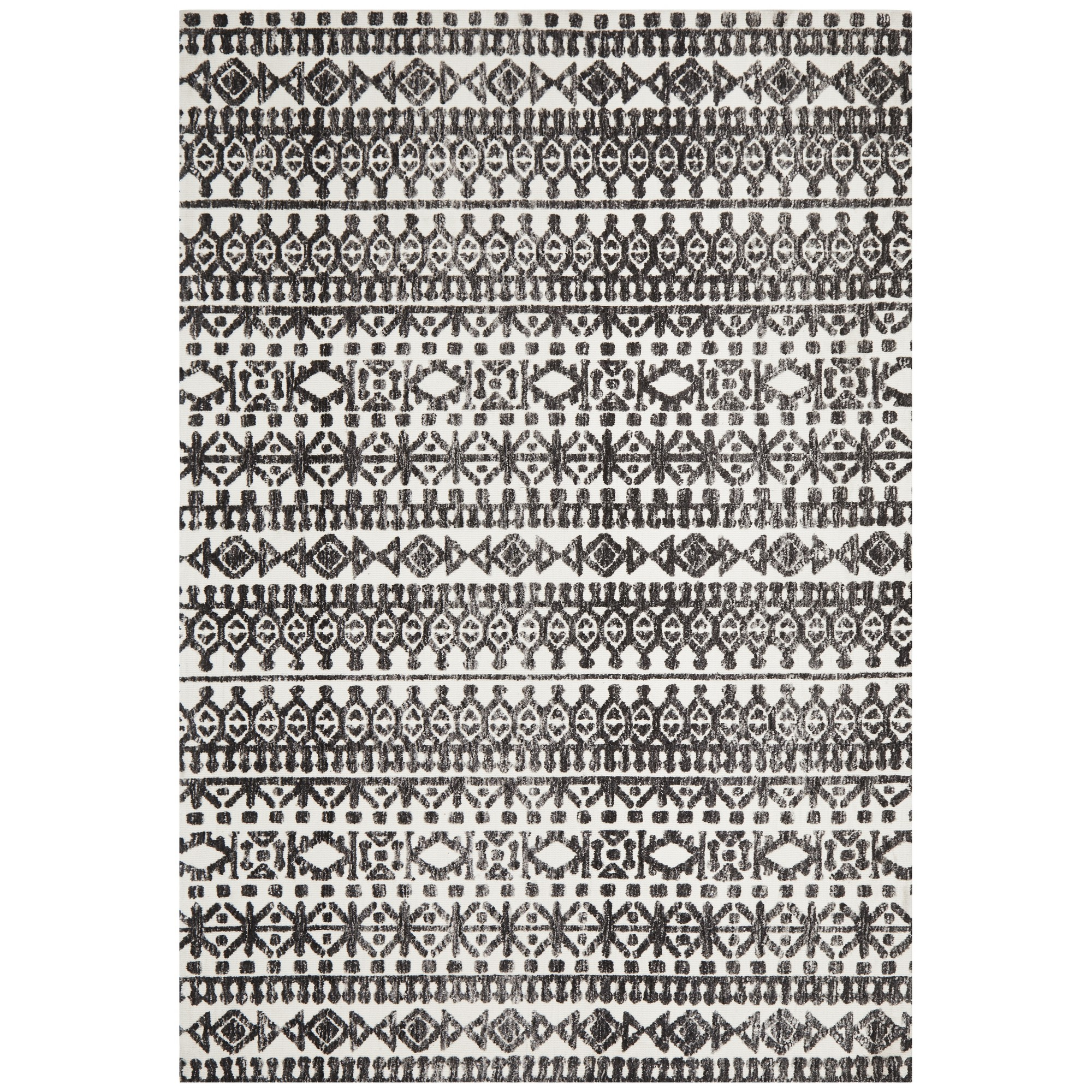 Levi Morgana Tribal Rug, 300x400cm, Black / Ivory