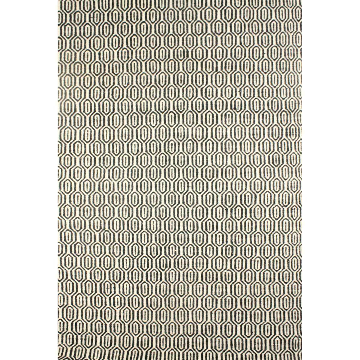 Lisa Flat Weave Wool Dhurry Rug, 190x280cm, Black