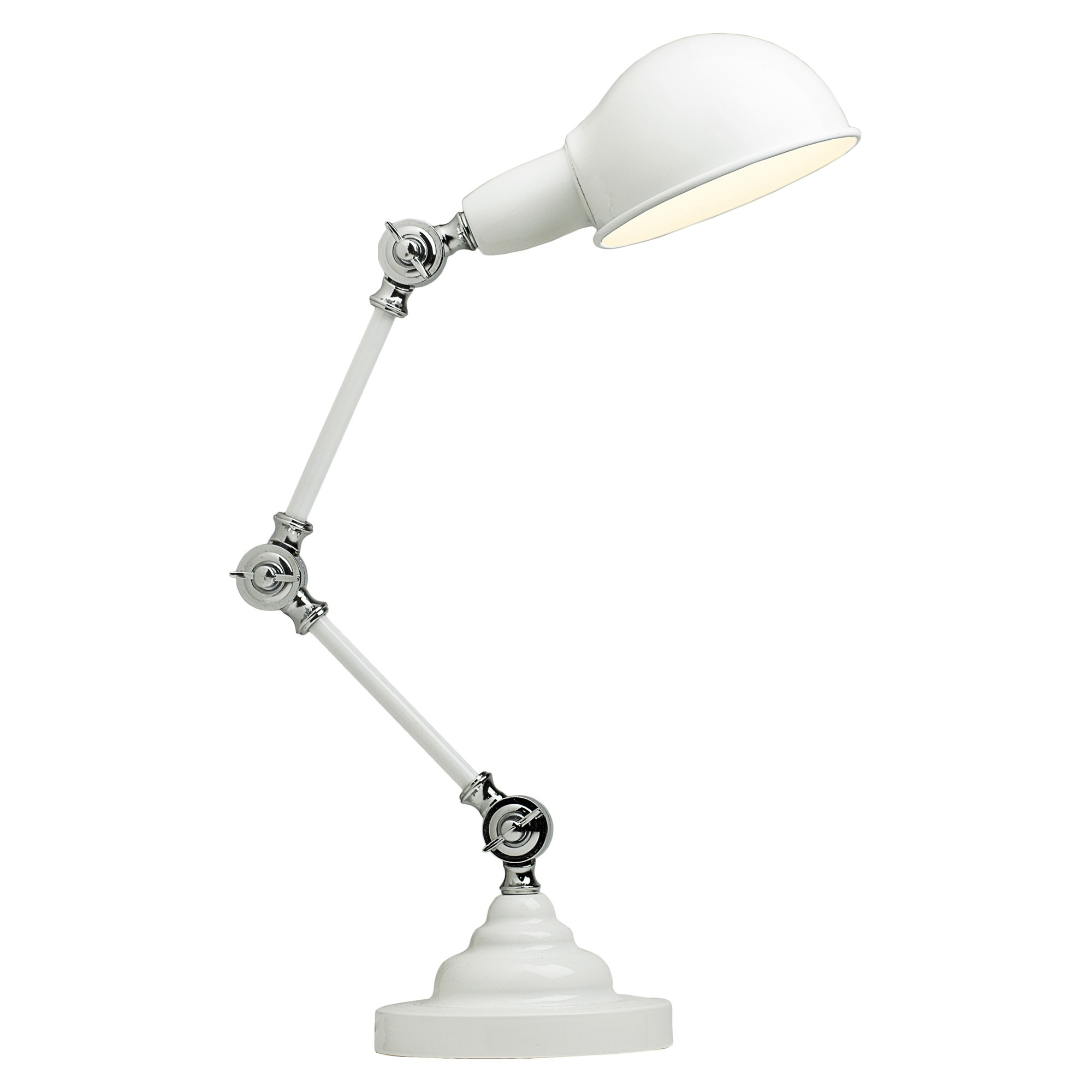 Elton Adjustable Metal Desk Lamp, White