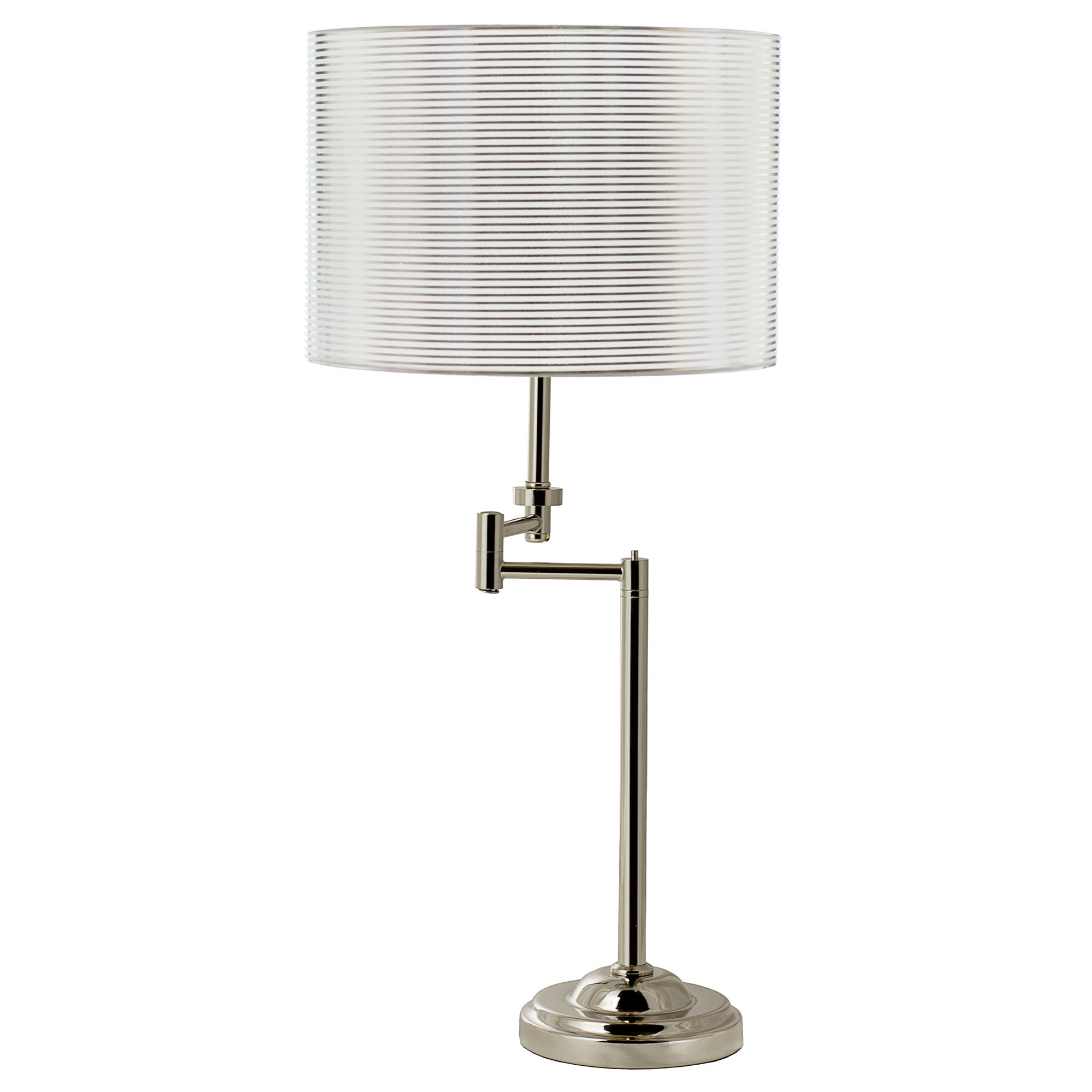 Nikola Adjustable Metal Swing Arm Table Lamp, Satin Chrome