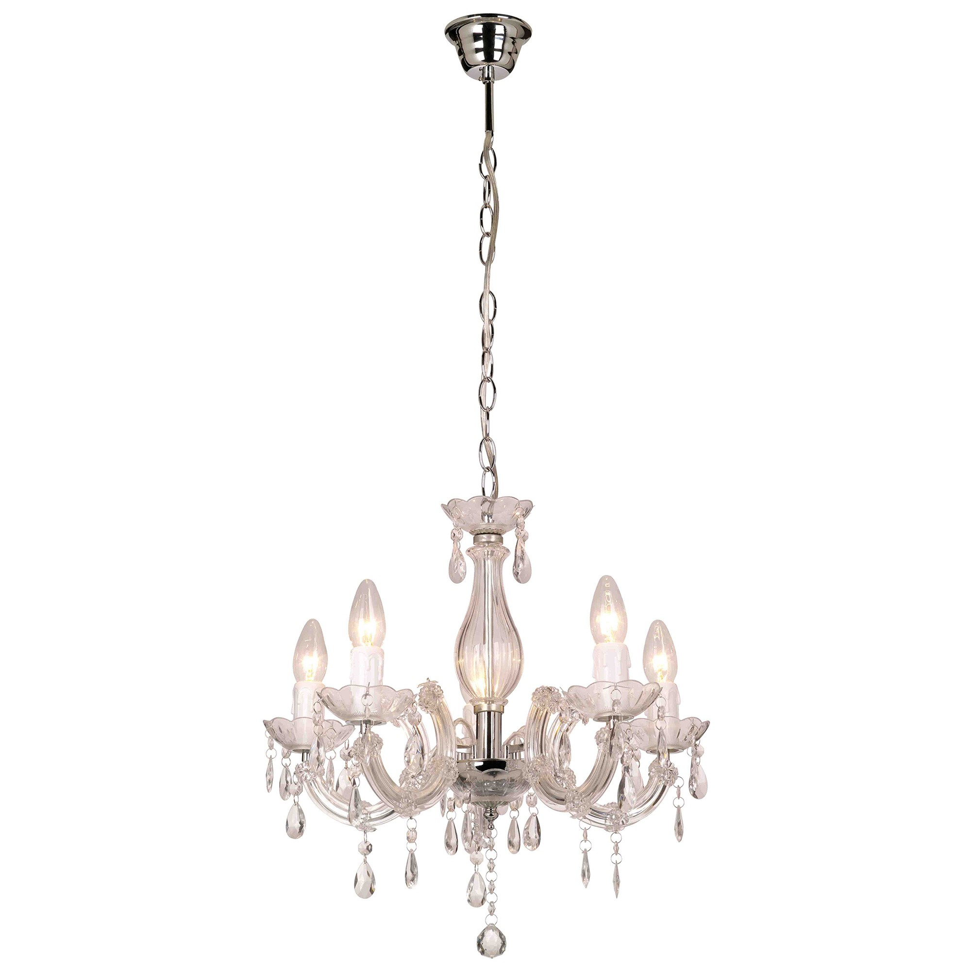 La Spezia Chandelier, 5 Arm, Clear