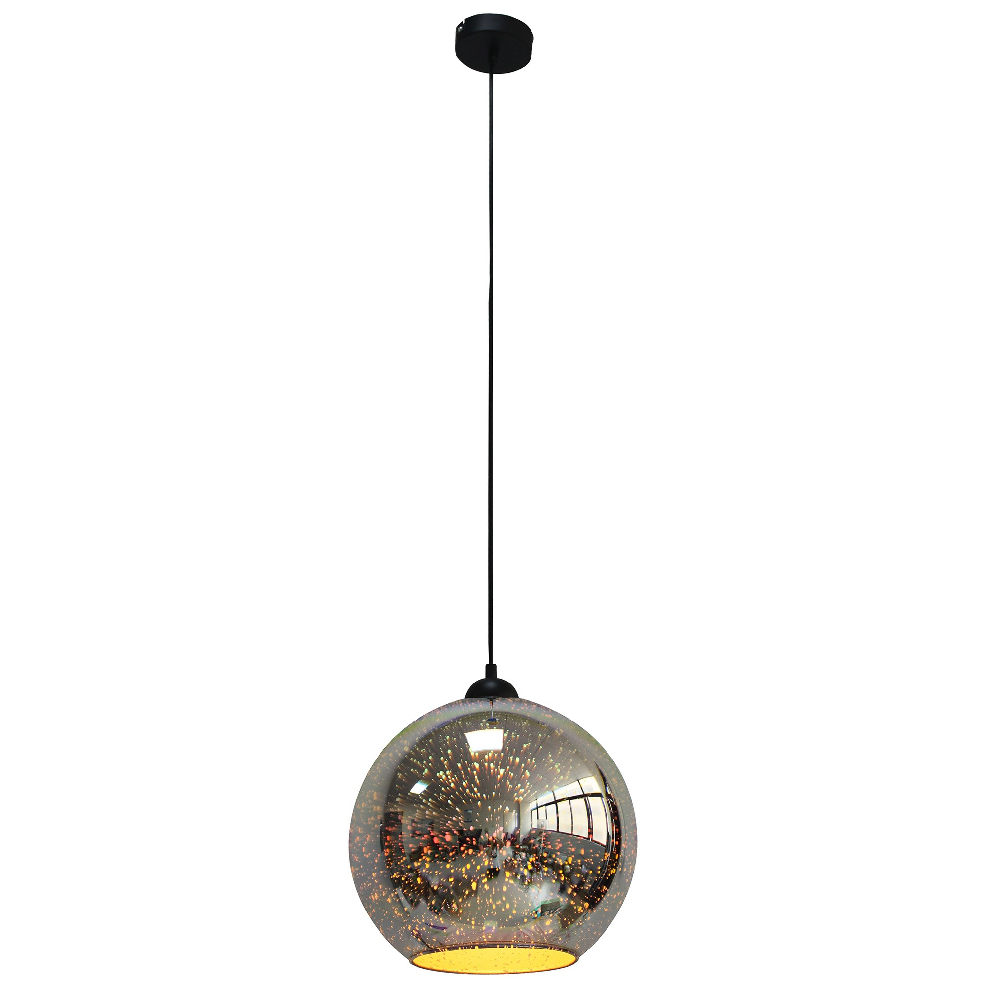 Javarone Glass Pendant Light, 30cm, Chrome