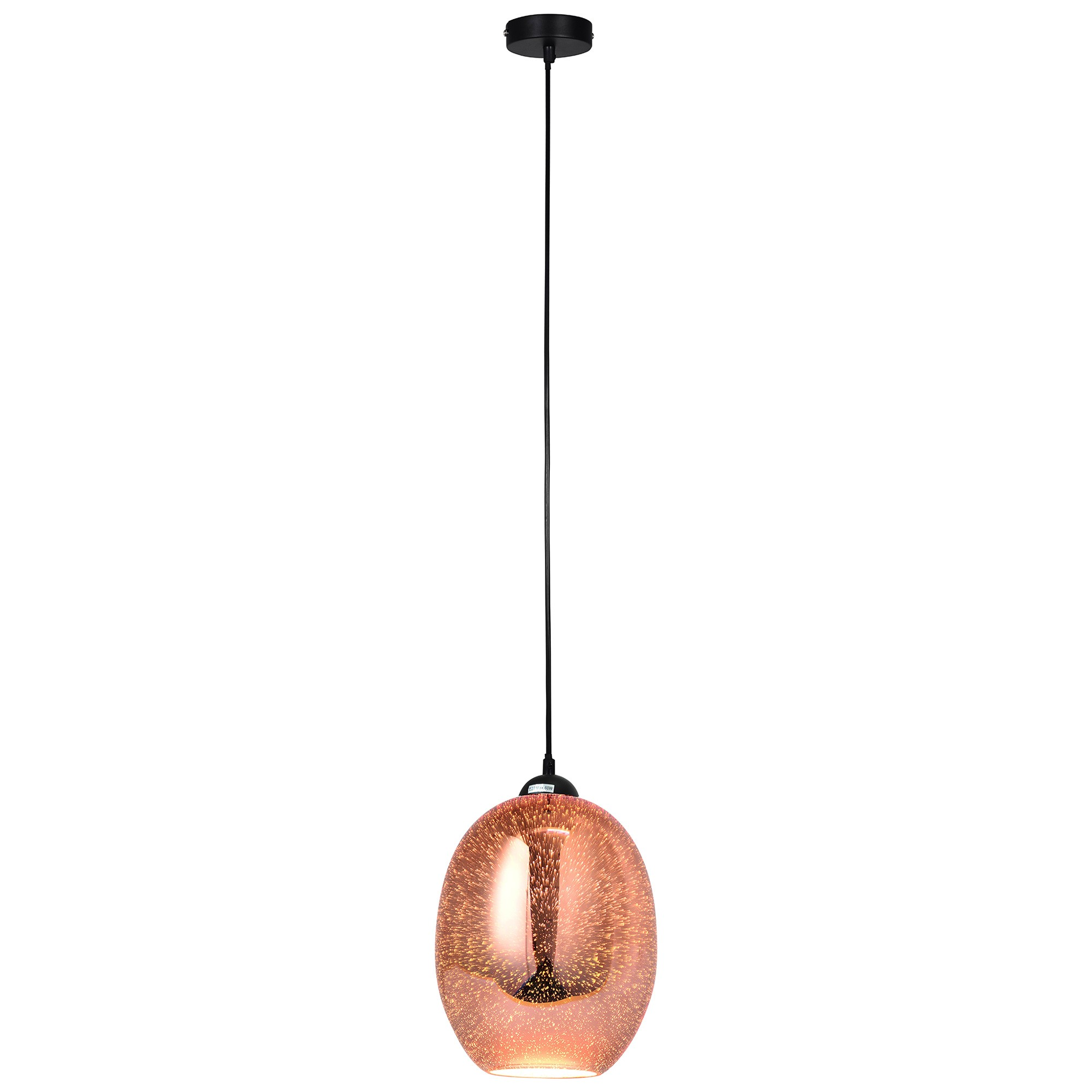 Moravian Glass Pendant Light, Copper