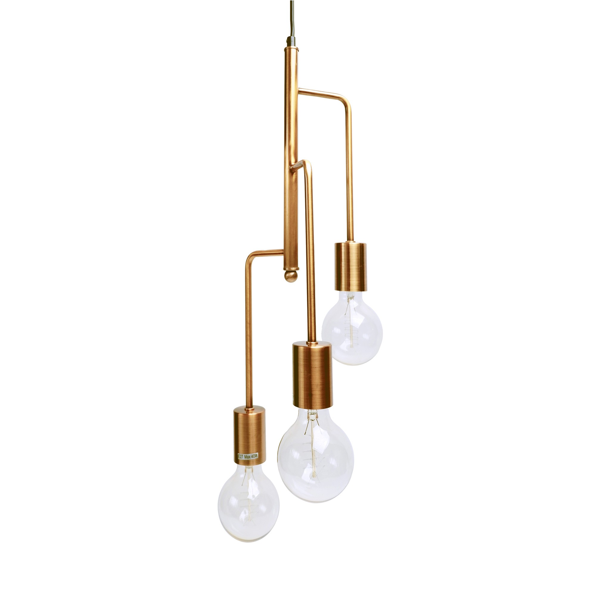 Rohan 3 Tubular Suspension Pendant Light, Satin Chrome