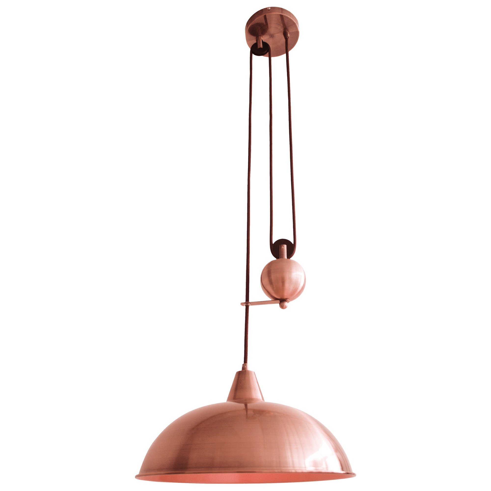 Jess Rise & Fall Stainless Steel Pendant Pulley Light, Antique Brass-I