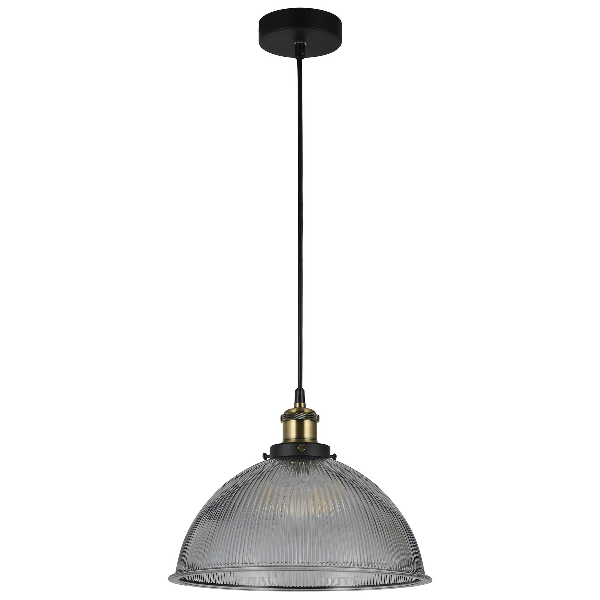 Tristan Ribbed Glass Pendant Light, Smoke