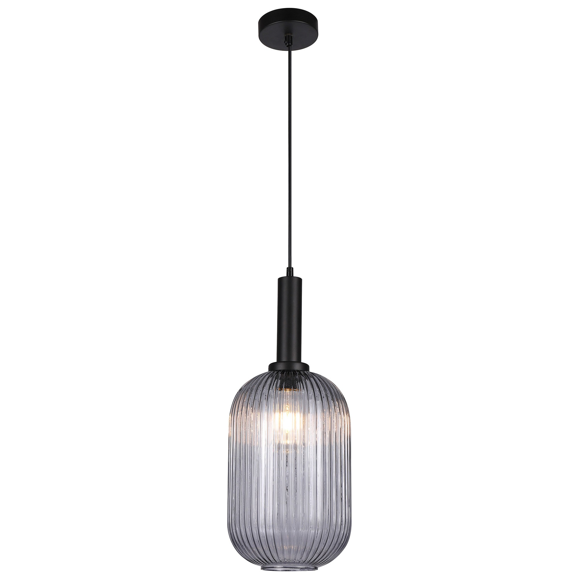 Tius Ribbed Glass Pendant Light, Oblong
