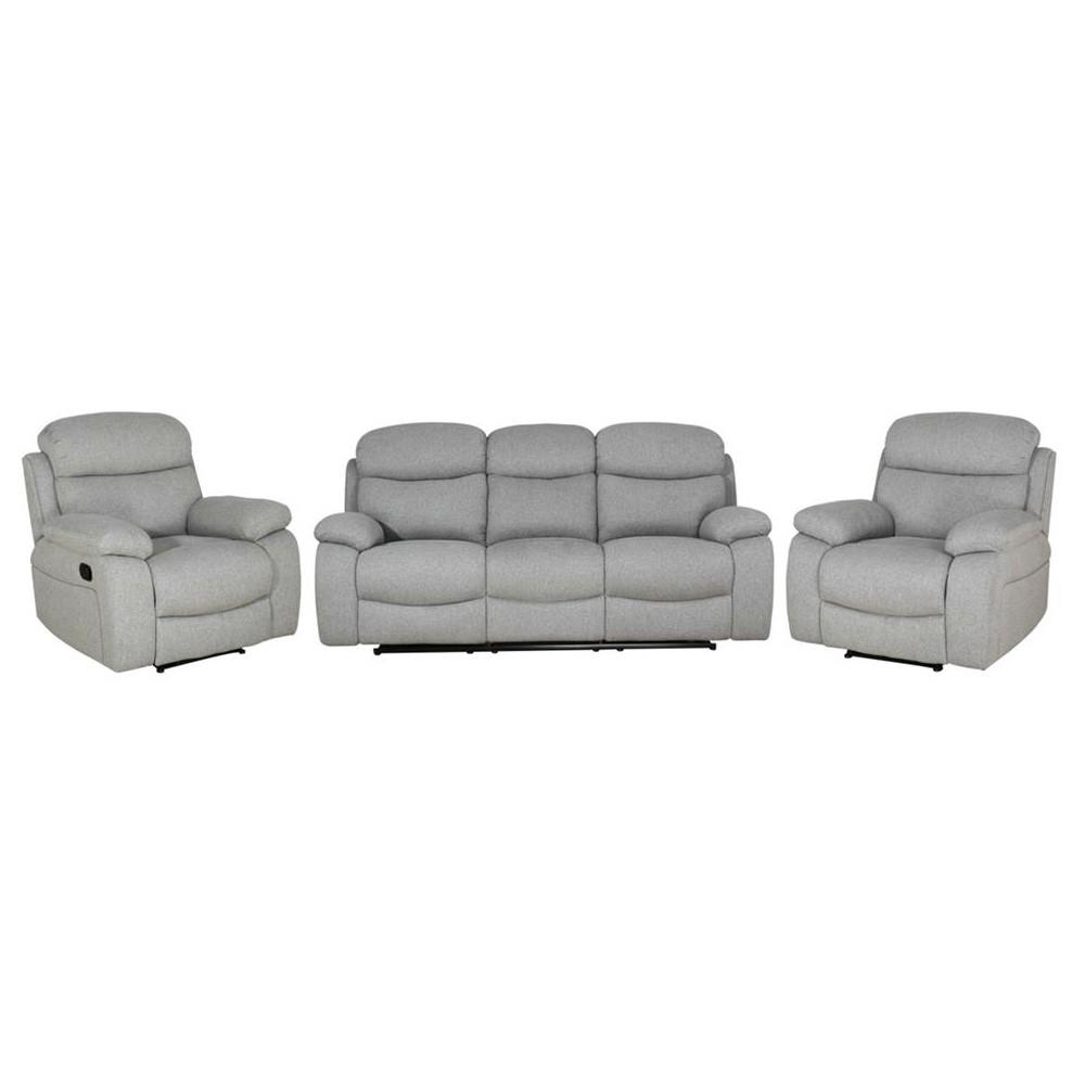 Alfredo 3+1+1 Suede Recliner Sofa Suite, Mist