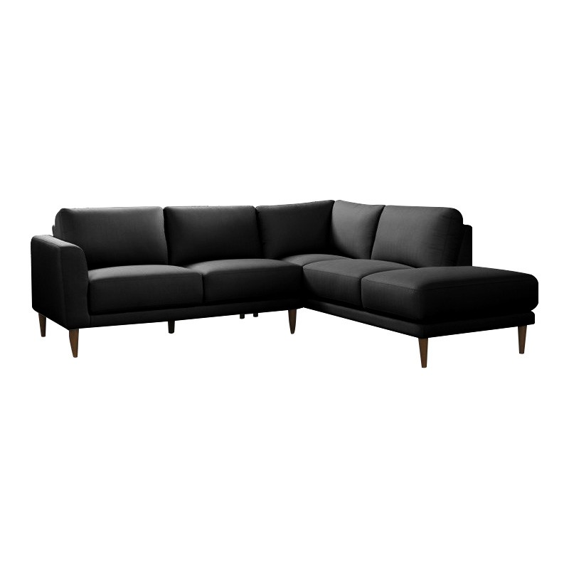 Beverley 5 Seater Leather Corner Sofa with Right Hand Facing Chaise, Black