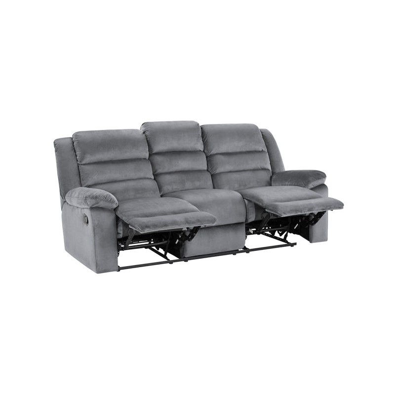 Collins Suede 3 Seater Recliner Sofa, Steel
