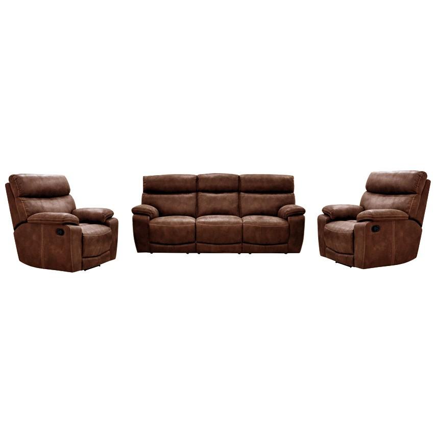 Trafalgar 3+1+1 Suede Recliner Sofa Suite, Cigar
