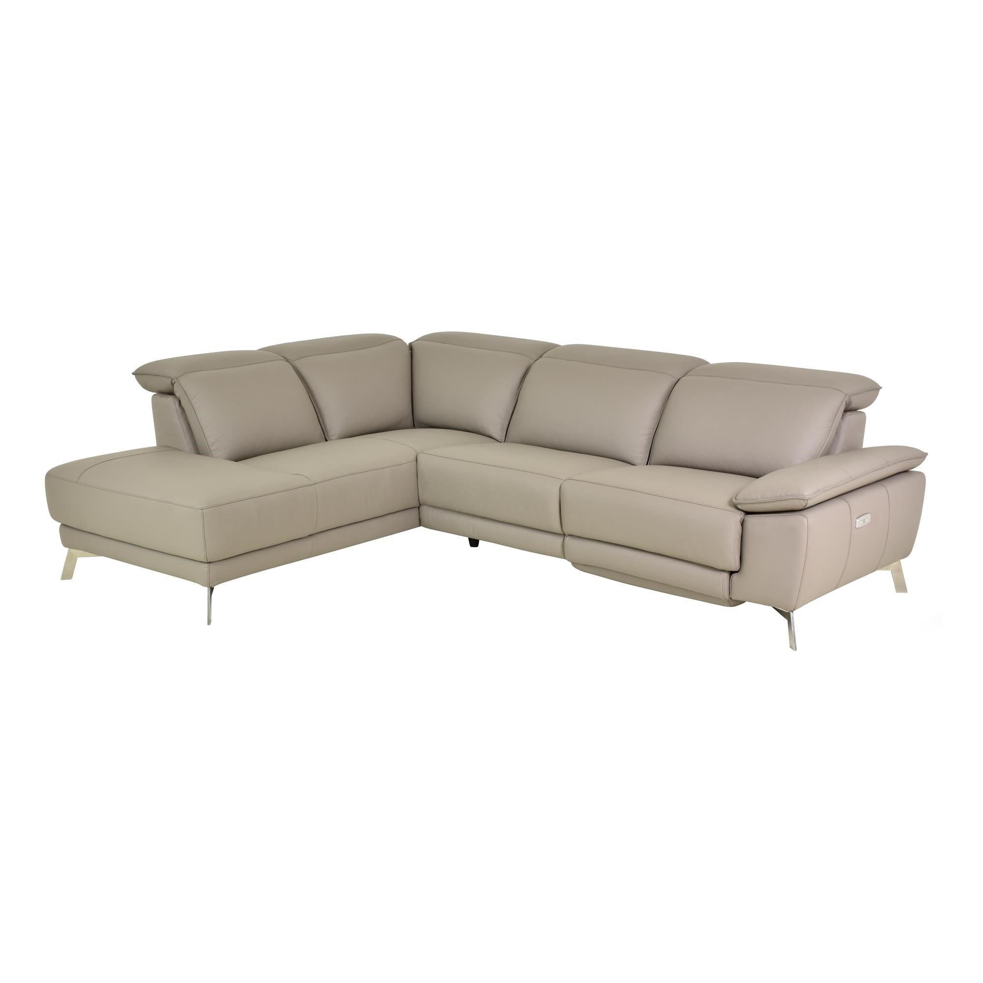 Zarla 5 Seater Leather Corner Sofa with Left Hand Facing Chaise, Taupe