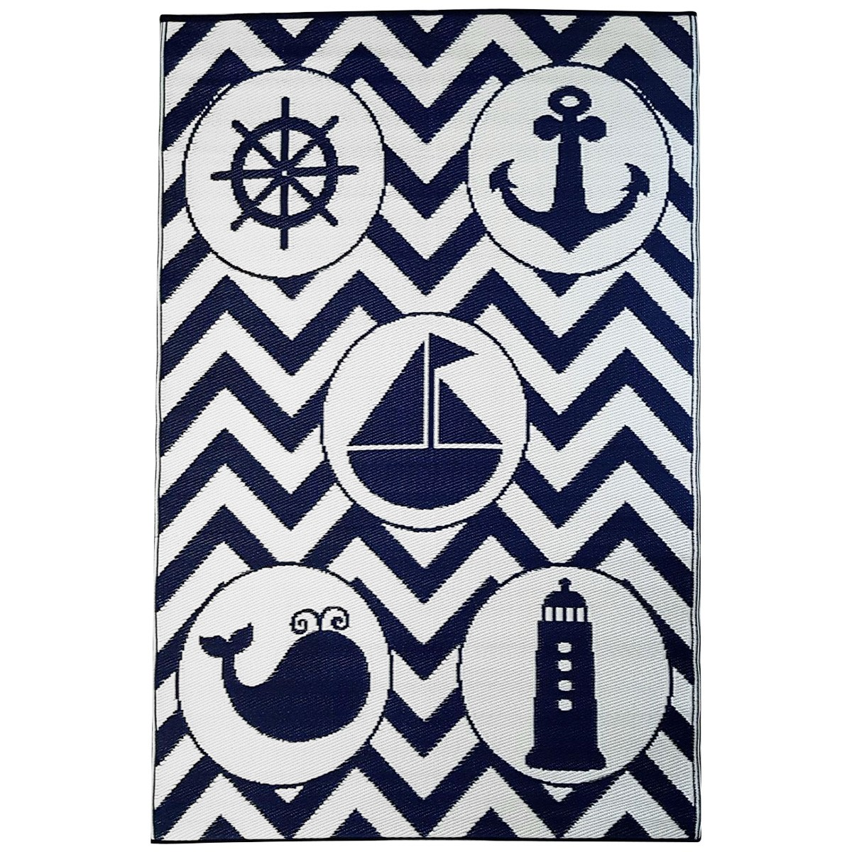 Little Portico's Sea Blue Objects Indoor/Outdoor Kids Mat, 180x270cm