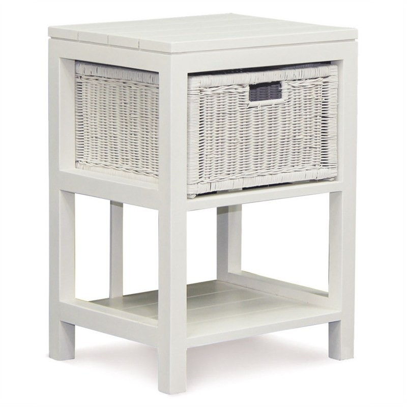 Solid Mahogany 1 Drawer Rattan Lamp Table, White