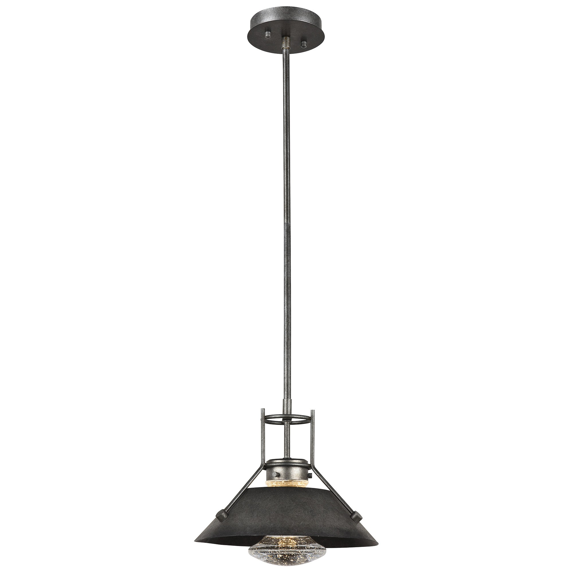Elko Steel & Crystal Glass LED Pendent Light with Shade, Medium