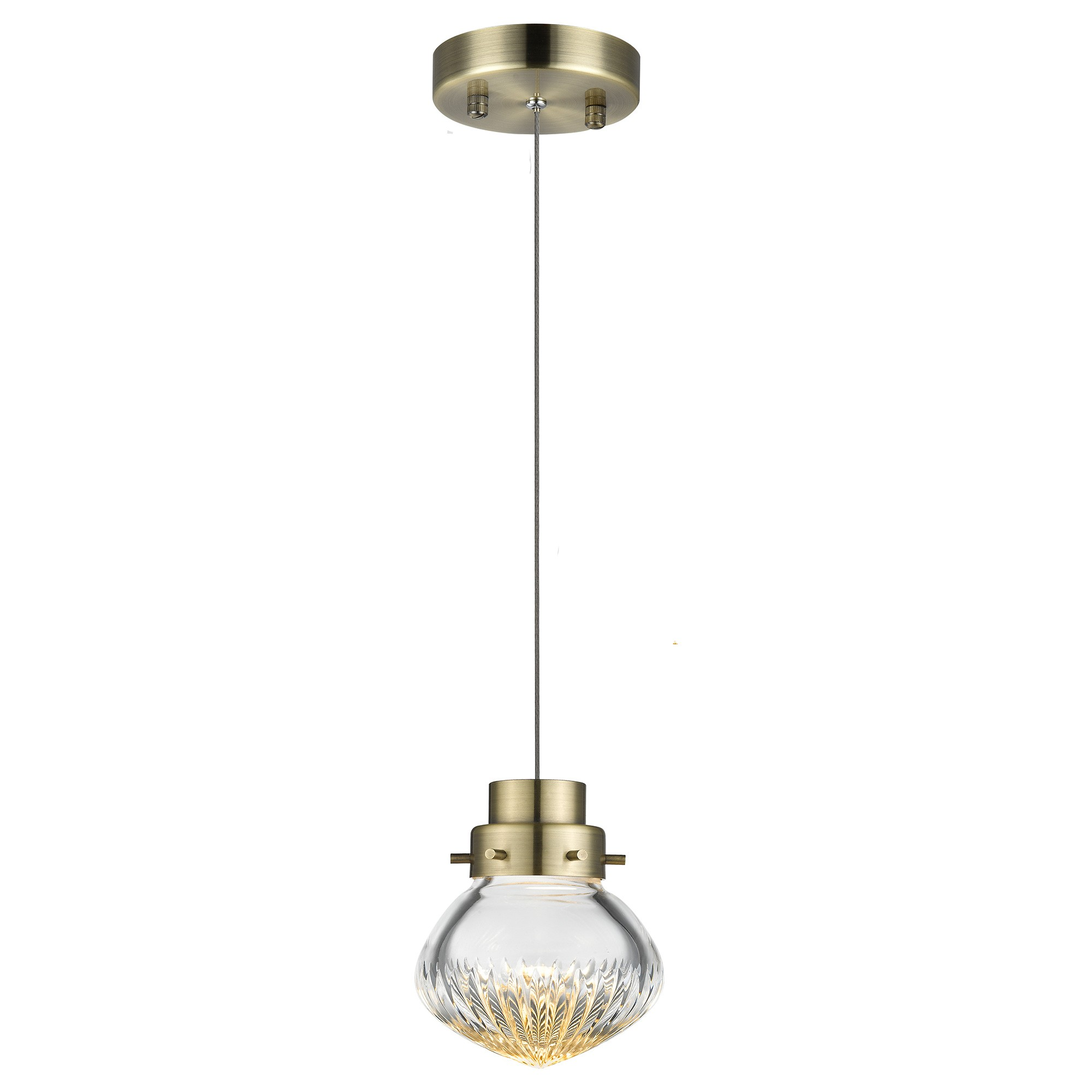 Ola Mini Cut Glass LED Pendant Light, Brass