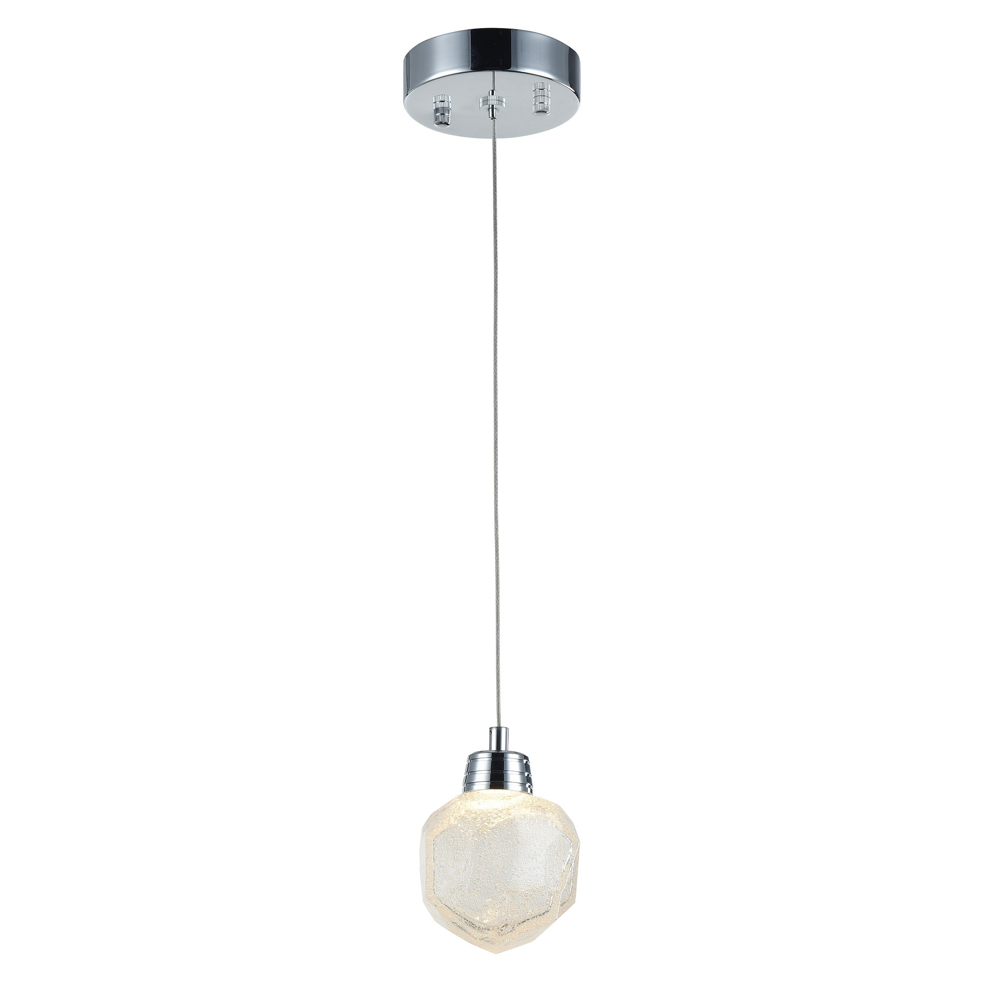 Ola Mini Rock Glass LED Pendant Light, Chrome