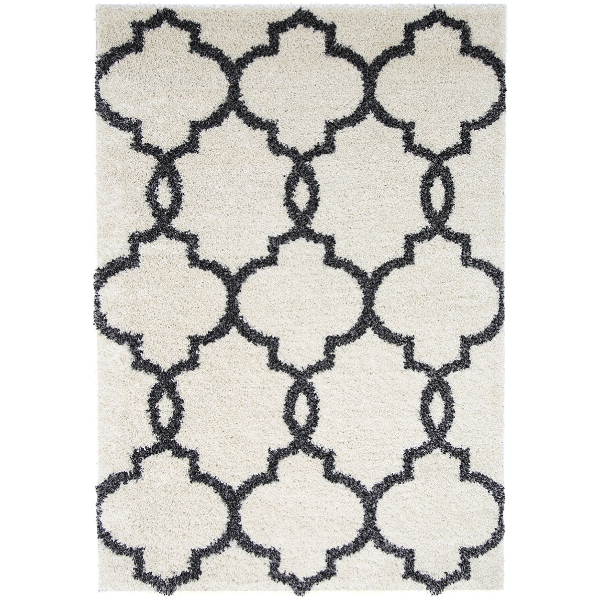 Siesta Lattice Shaggy Rug, 240x330cm, Cream/Charcoal