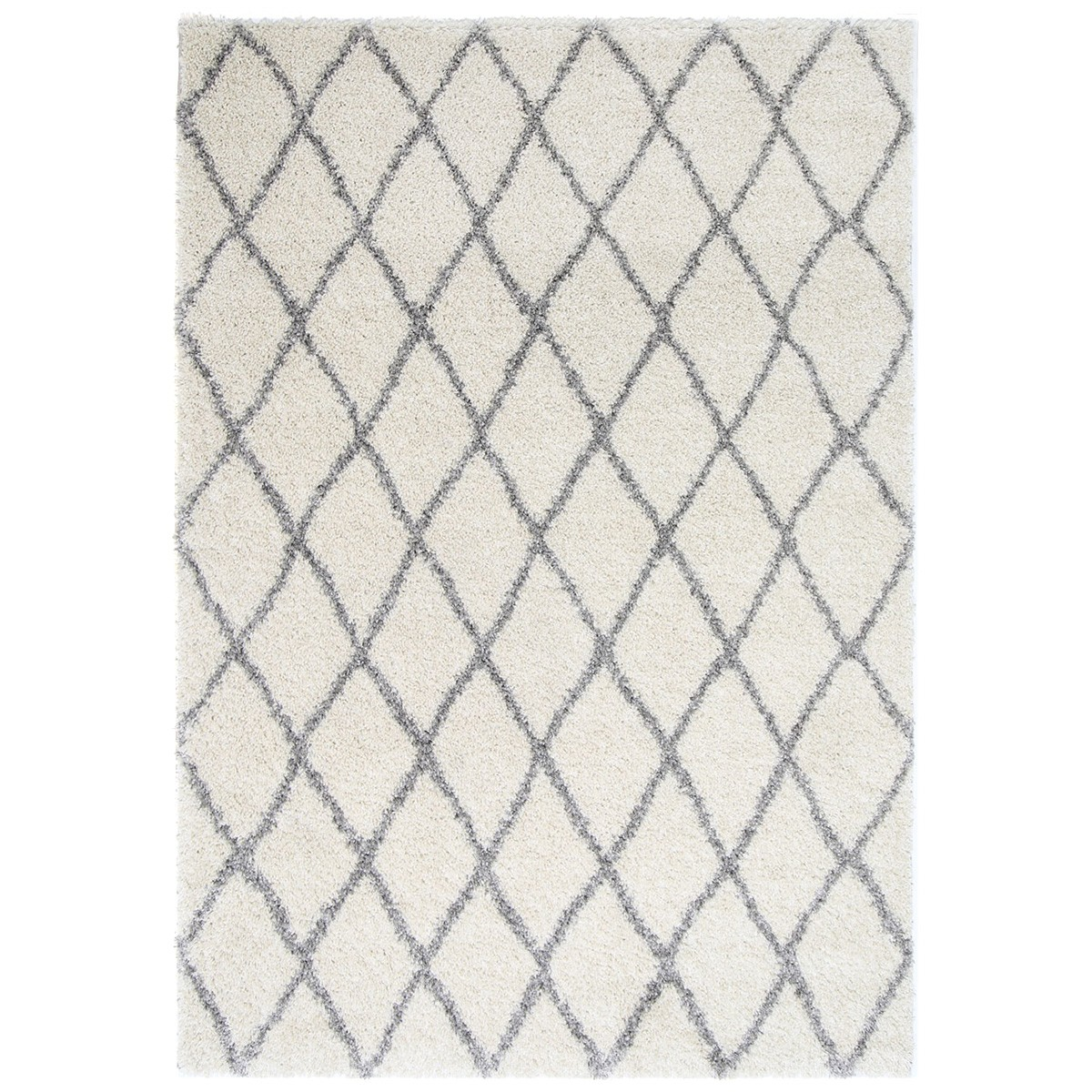 Siesta Diamond Shaggy Rug, 200x290cm, Cream/Grey