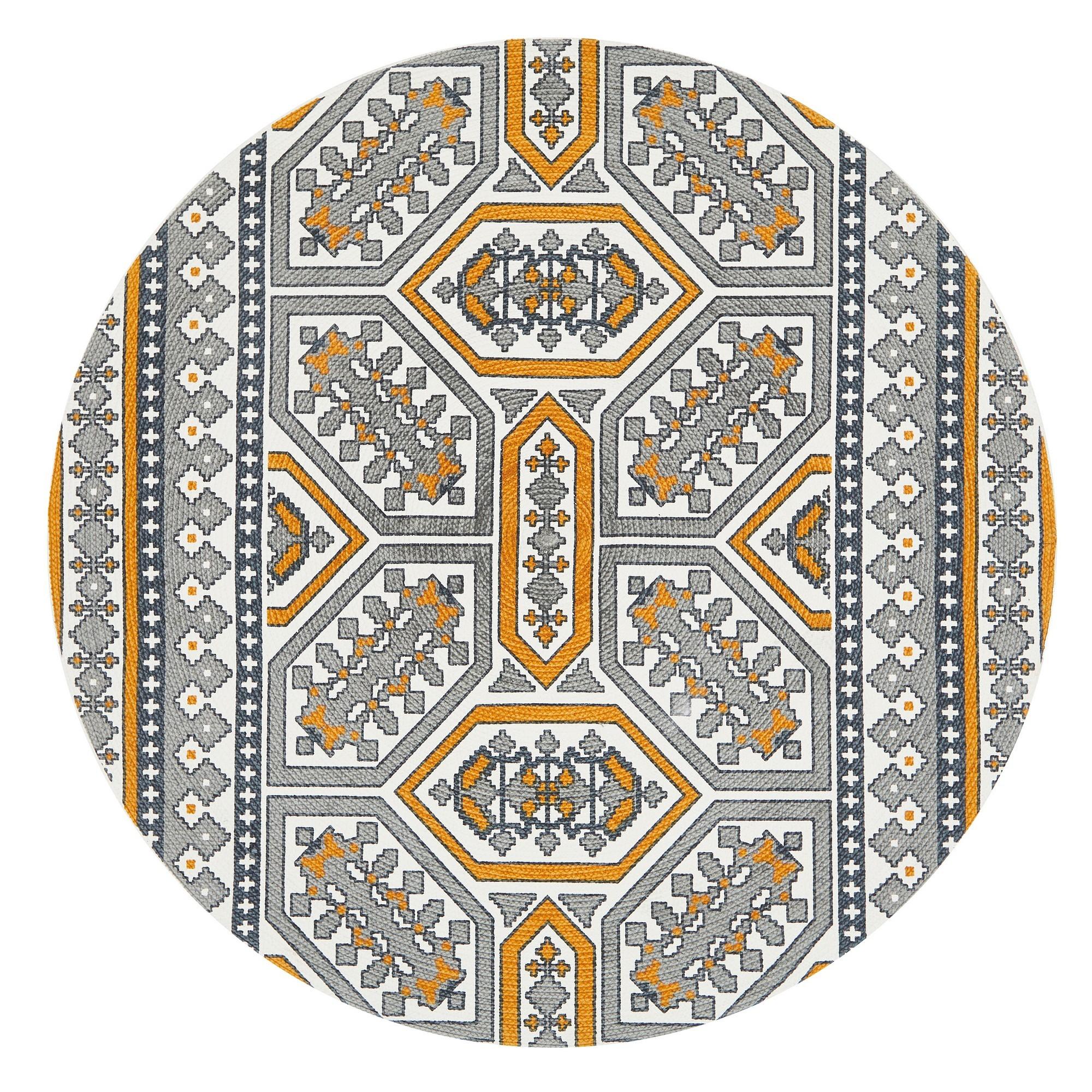 Lunar Darcy Printed Cotton Round Rug, 120cm