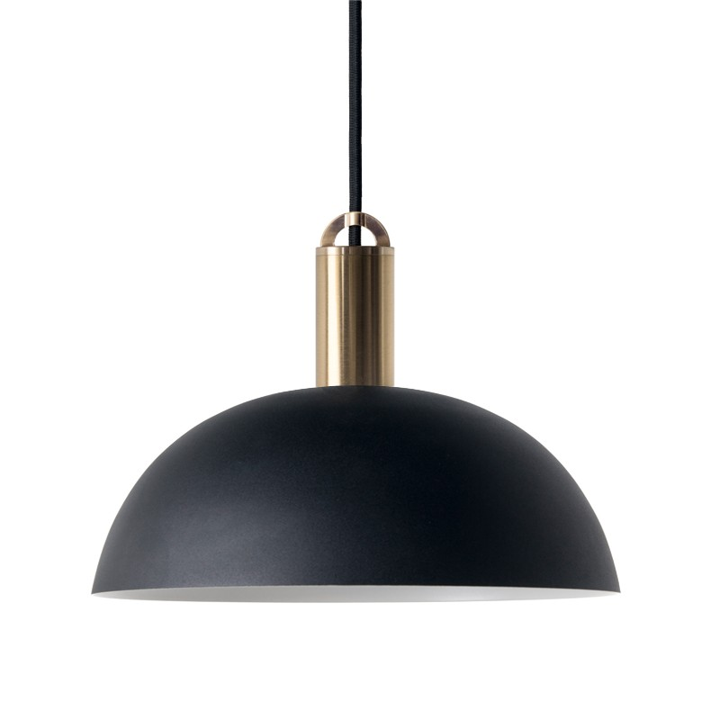 Sync Metal Pendant Light, Dome Shade, Black / Brass