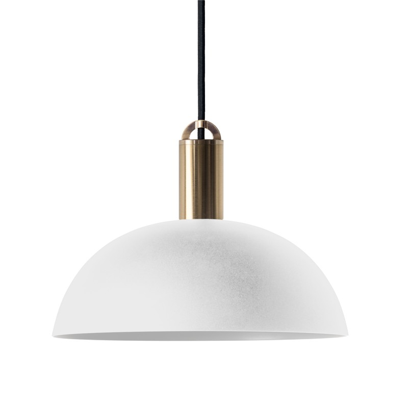 Sync Metal Pendant Light, Dome Shade, White / Brass