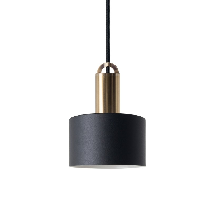 Sync Metal Pendant Light, Tube Shade, Black / Brass