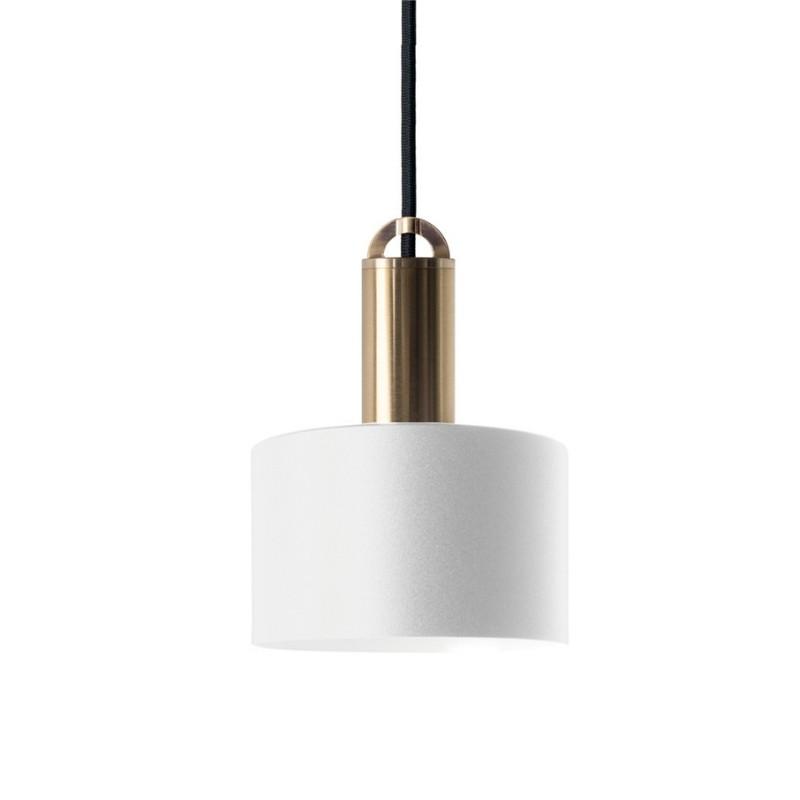 Sync Metal Pendant Light, Tube Shade, White / Brass
