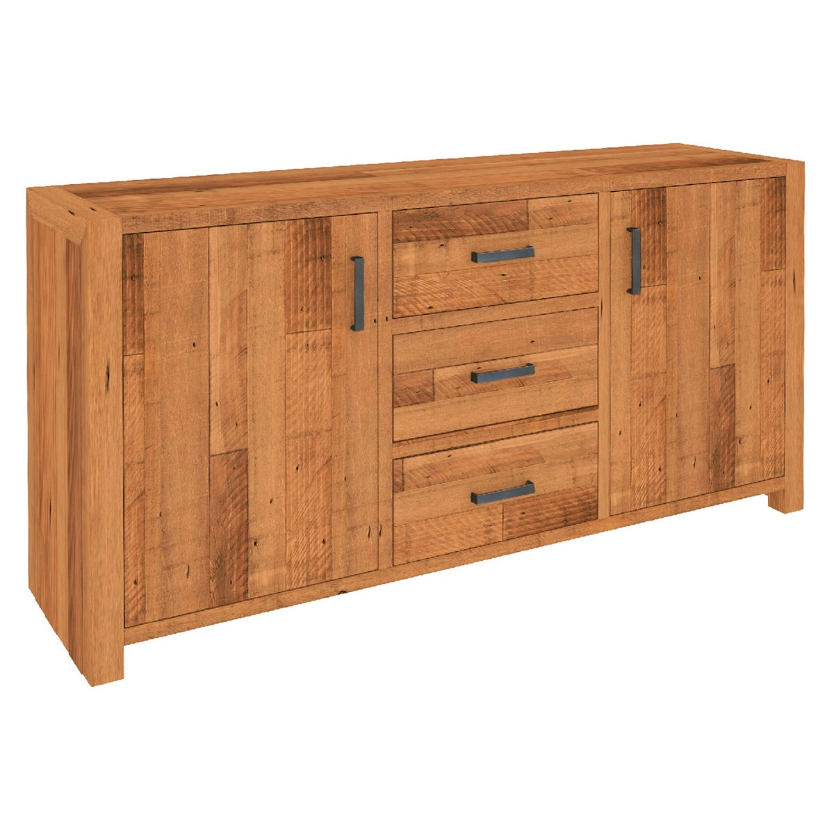 Arcadia Solid Timber 2 Door 3 Drawer Buffet Table, Antique Barley