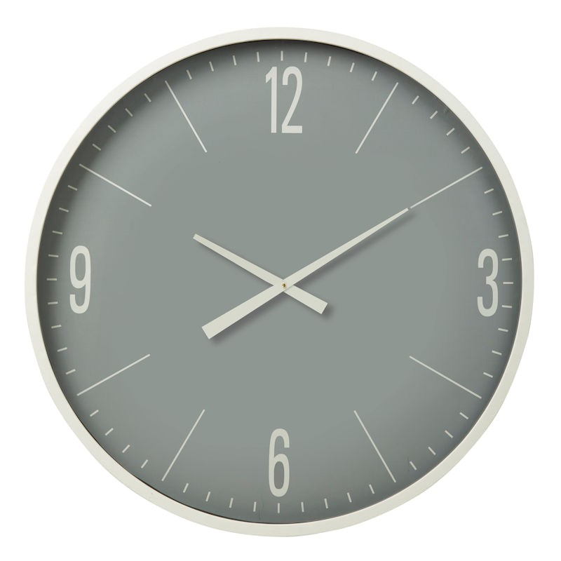 Pearson Metal Frame Round Wall Clock, 87cm, White Frame
