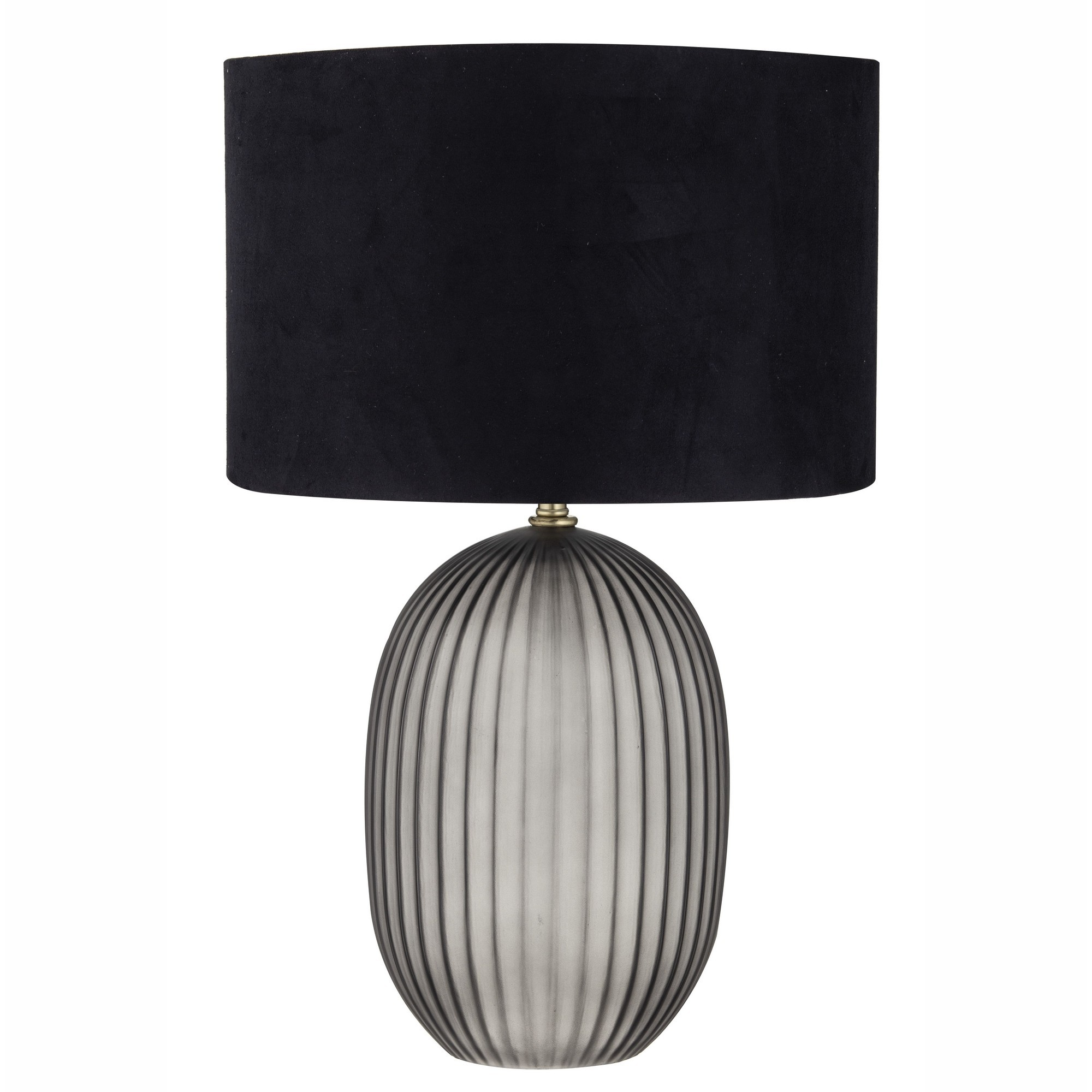 Aston Glass Table Lamp, Smoke / Black