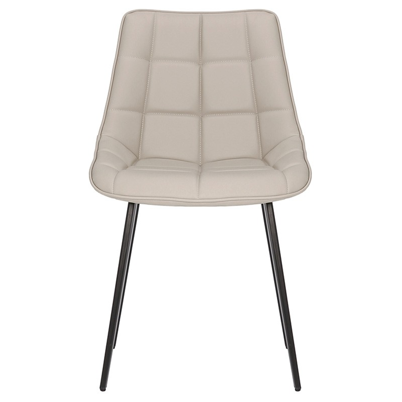 Lada Commercial Grade Faux Leather Dining Chair, Light Grey