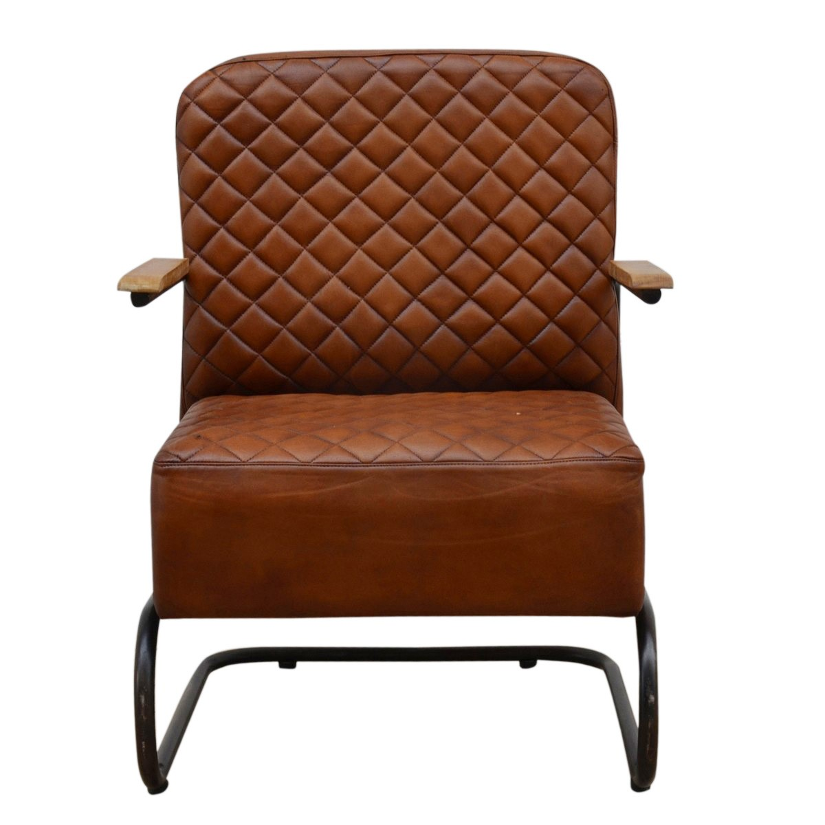 Di Maggio Industrial Leather & Iron Lounge Armchair