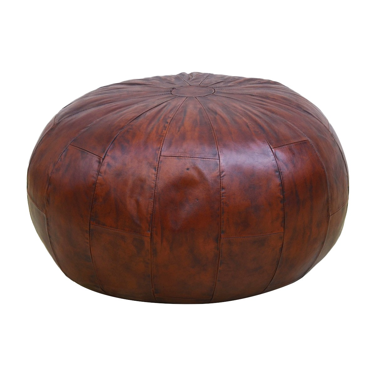 Dubbo Leather Round Pouf
