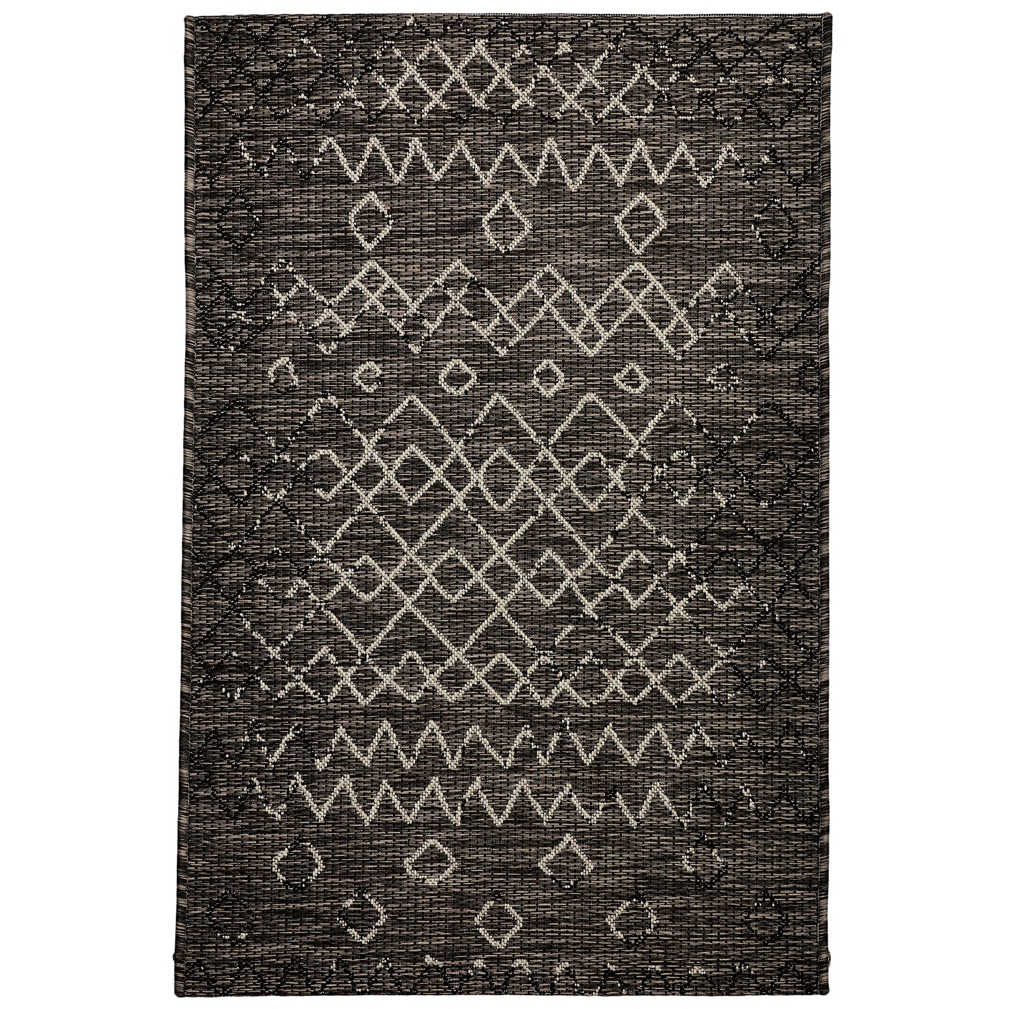 Magic No.304 Modern Tribal Indoor / Outdoor Rug, 330x240cm, Black