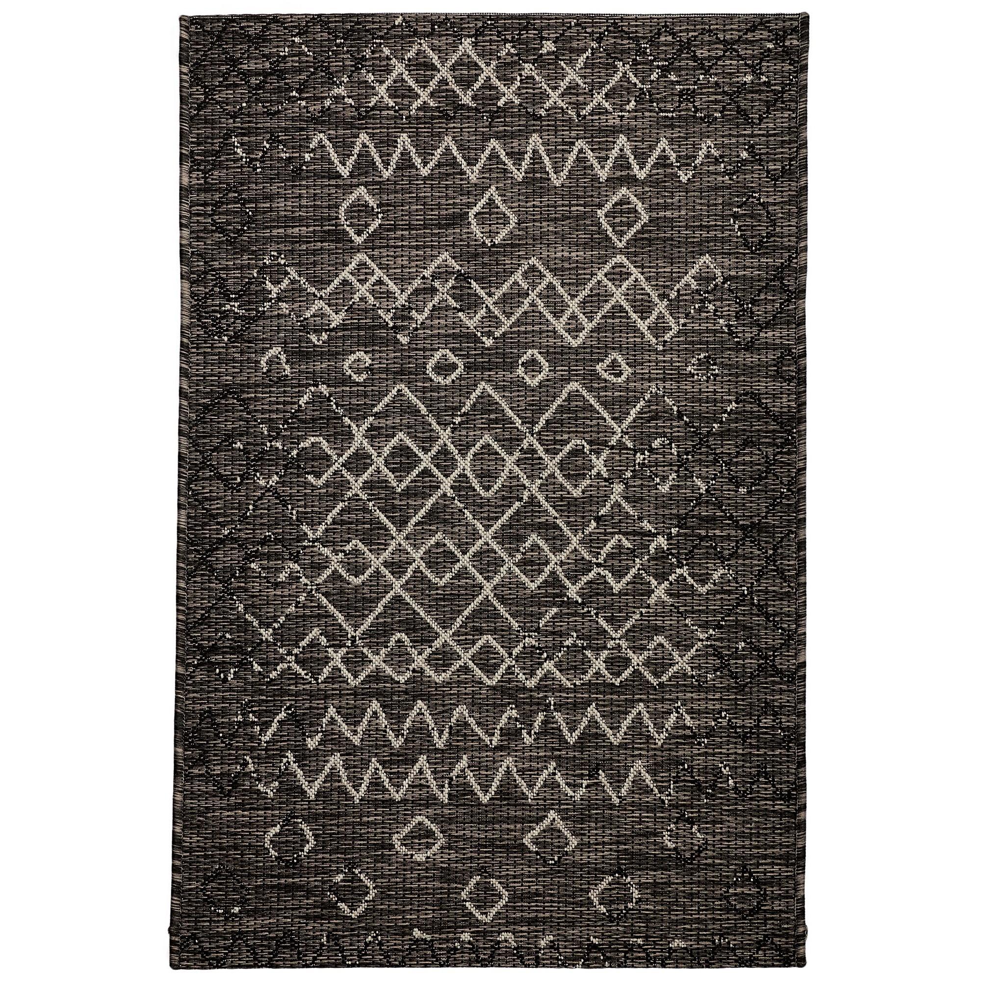 Magic No.304 Modern Tribal Indoor / Outdoor Rug, 330x240cm, Black