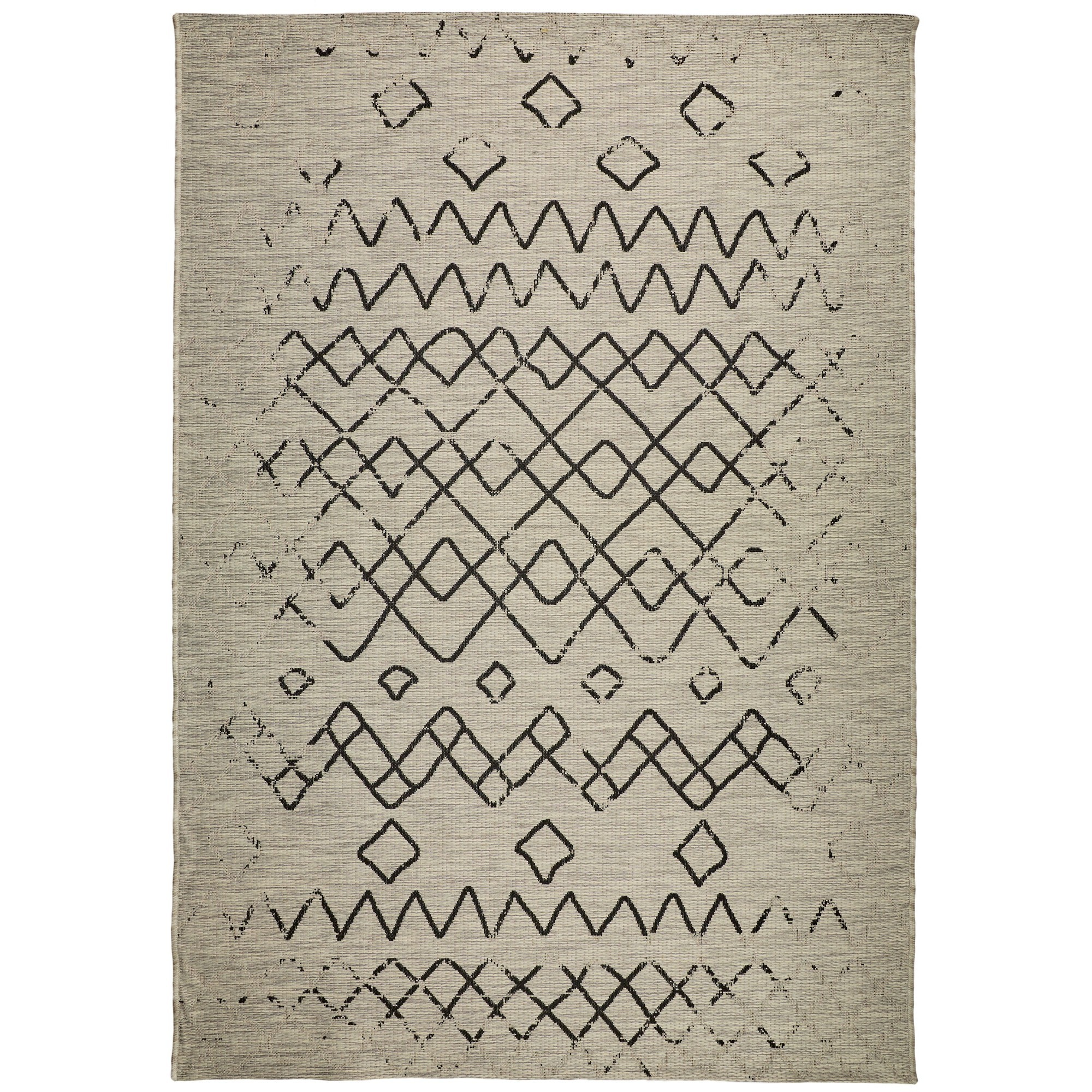 Magic No.304 Modern Tribal Indoor / Outdoor Rug, 330x240cm, Silver