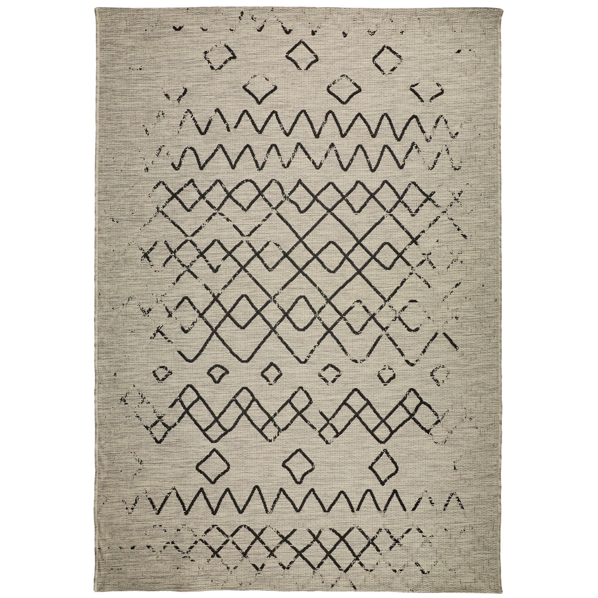 Magic No.304 Modern Tribal Indoor / Outdoor Rug, 330x240cm, Silver