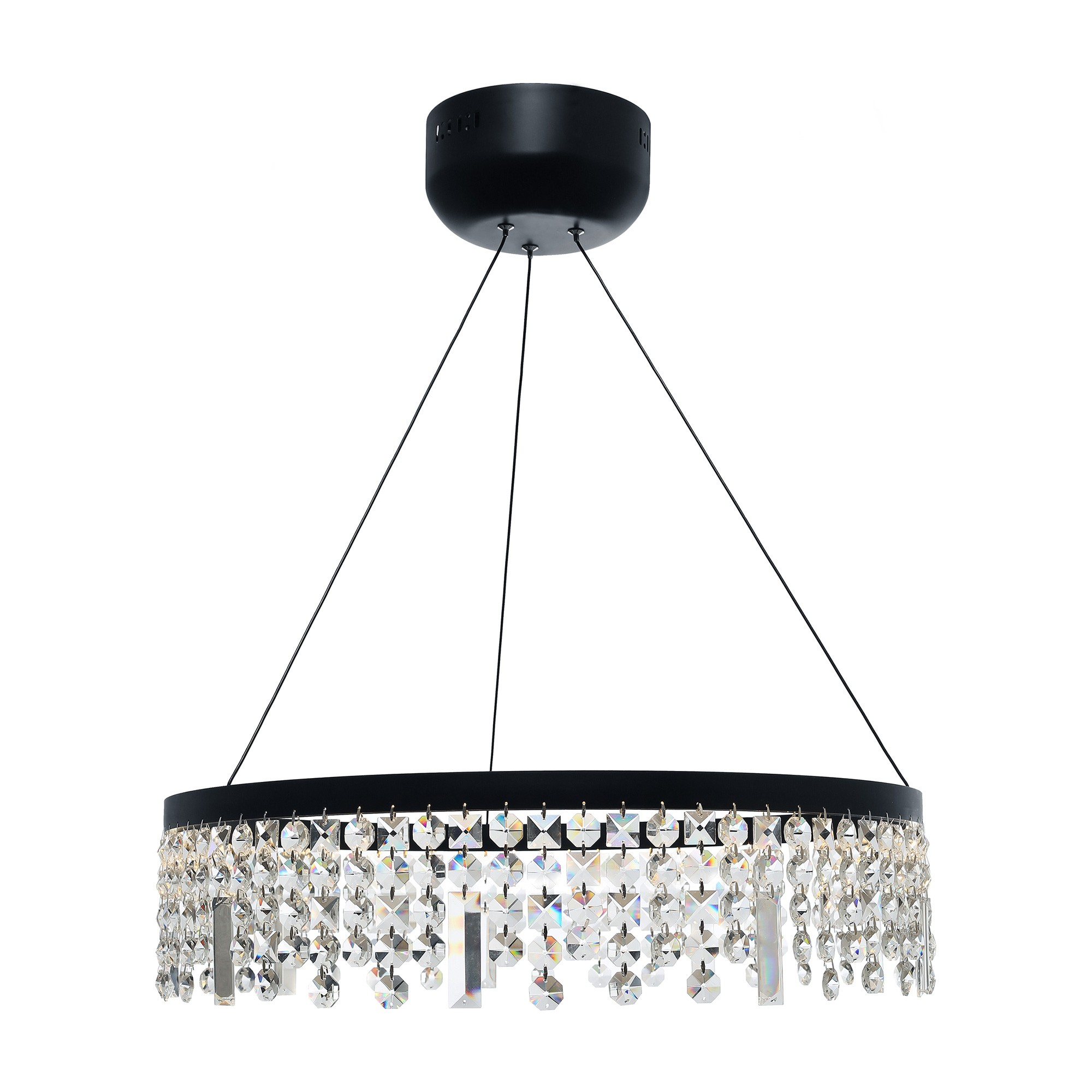 Majestic Crystal Droplet LED Pendant Light, Large, Black