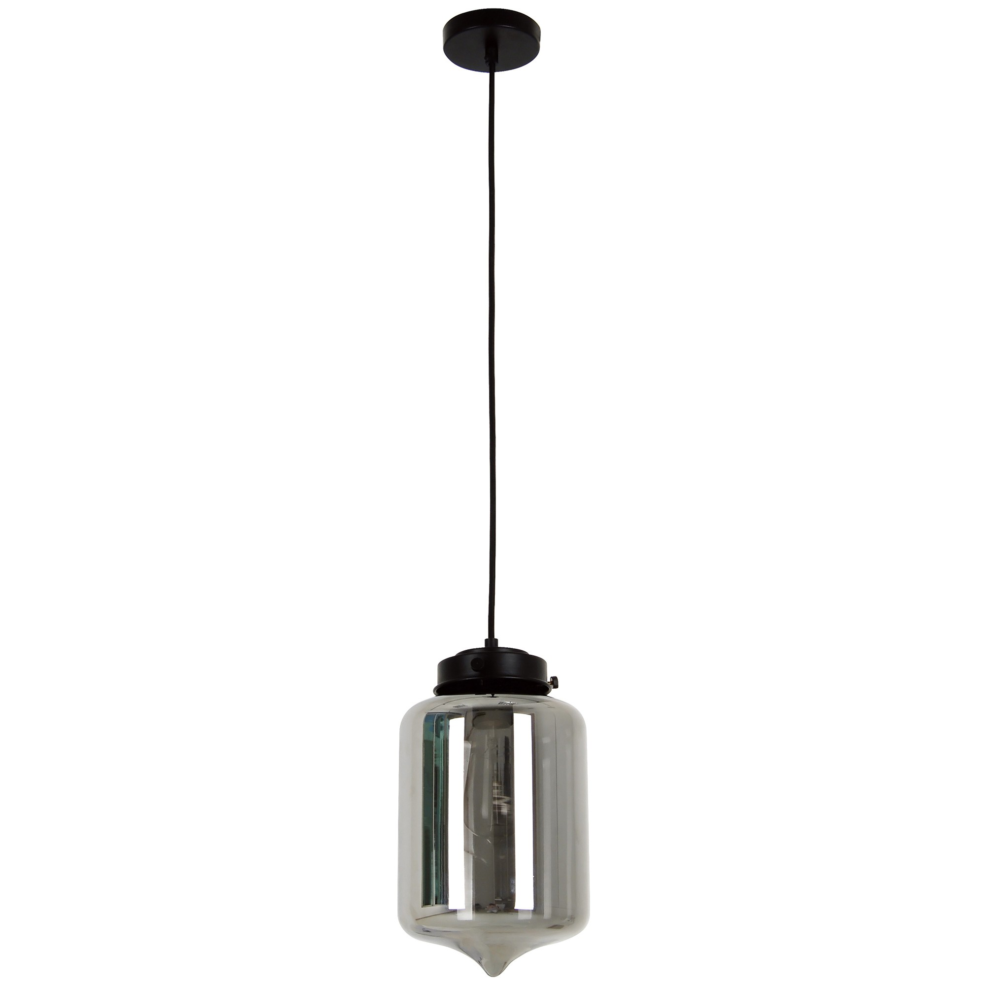 Mason Glass Pendant Light, Tipped, Smoke