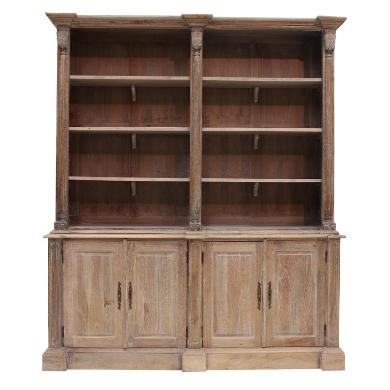 Brioude Solid Mahogany Timber Bookself / Hutch Cabinet, Weathered Oak