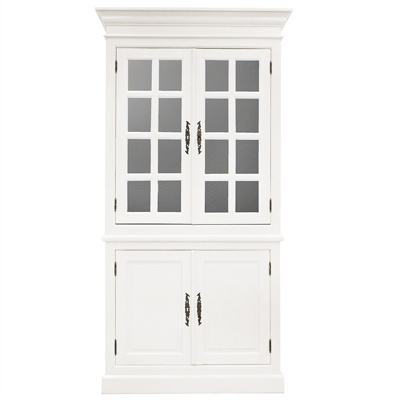 Toulouse Hand Crafted Mahogany 2 Door Display Cabinet, White