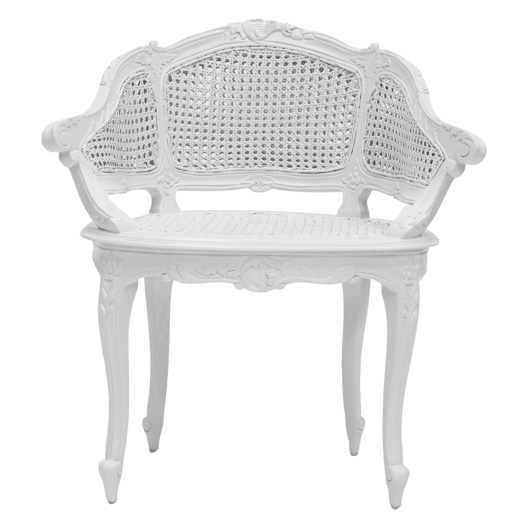 Vaugneray Hand Crafted Mahogany Bergere Chair, White