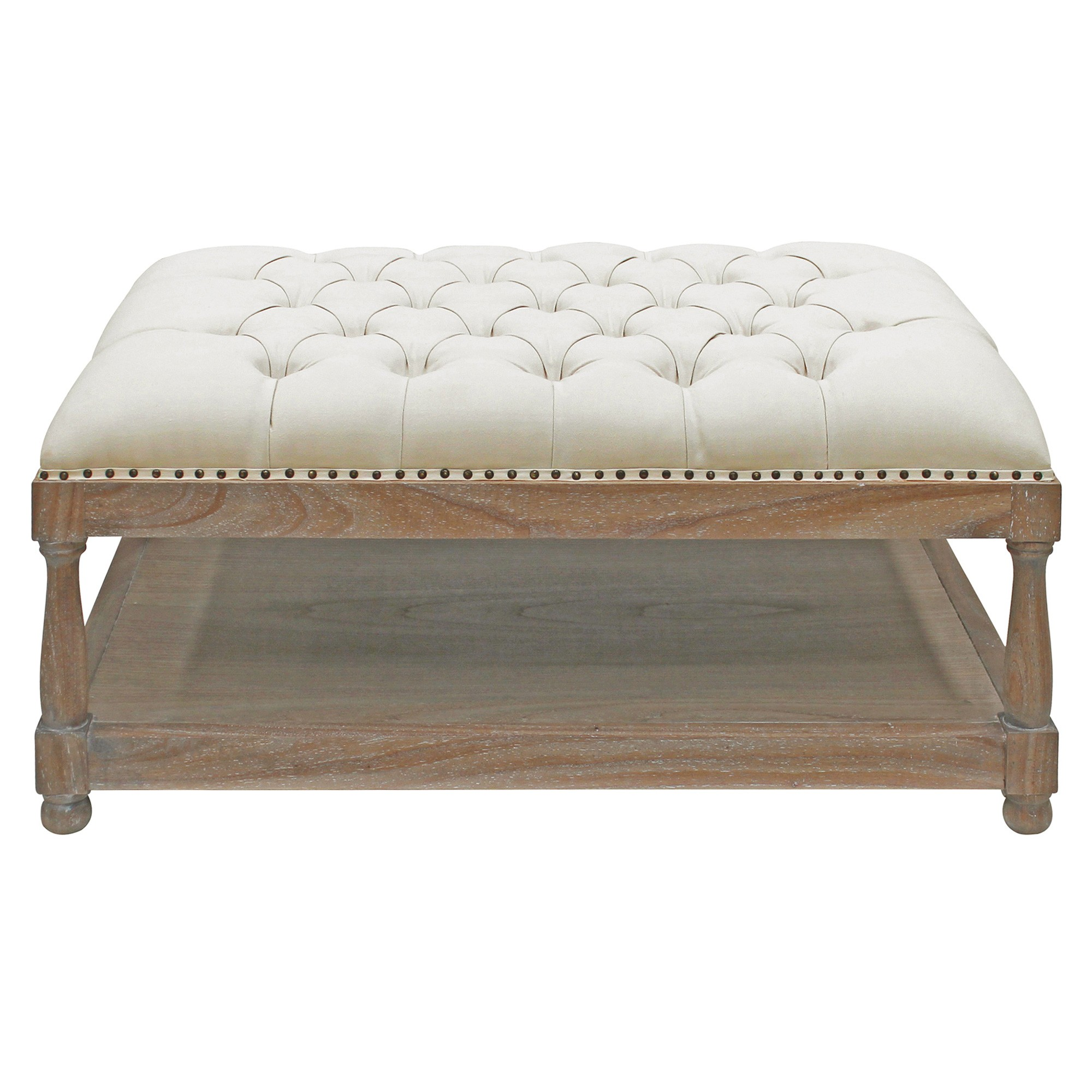 Sanvensa Hand Crafted Upholstered Mindi Wood Timber Ottoman, Oatmeal / Weathered Oak