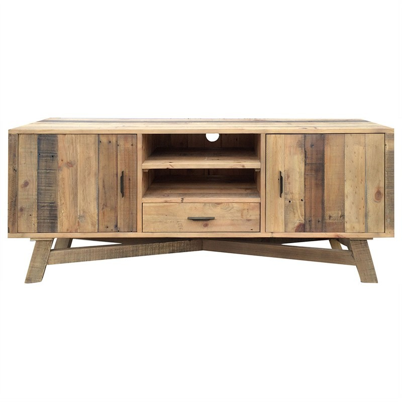 Wheaton Solid Recycled Pine Timber 2 Door Single Drawer 165cm TV Unit