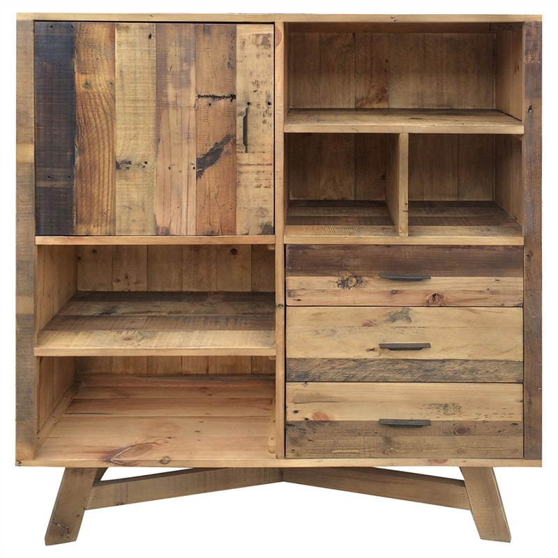 Wheaton Solid Recycled Pine Timber Side Storage Unit