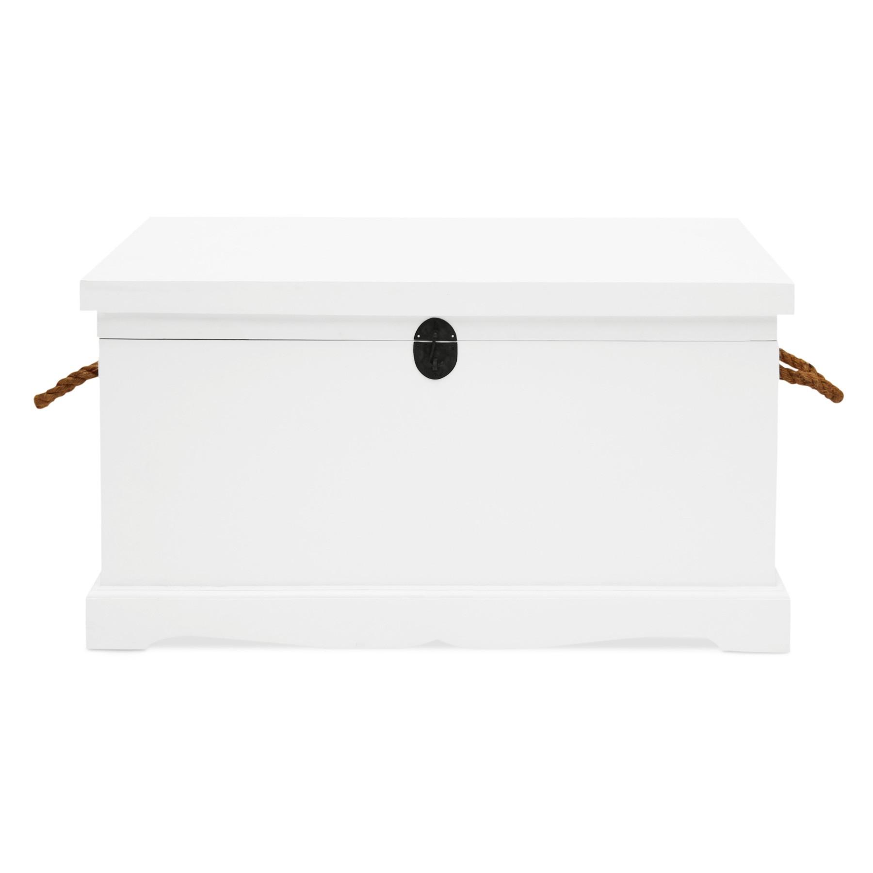 Larajasse Large Hand Crafted Mahogany Blanket Box, White