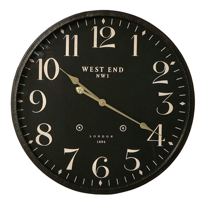 West End Canner Iron Frame Round Wall Clock, 60cm